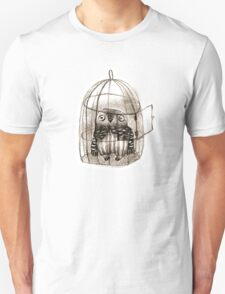 Baby Owl Sitting In a Birdcage Unisex T-Shirt