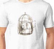 Pondering Snowy Owl Sitting in a Birdcage Unisex T-Shirt