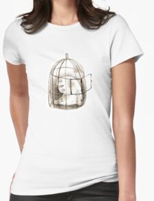 Pondering Snowy Owl Sitting in a Birdcage Womens Fitted T-Shirt