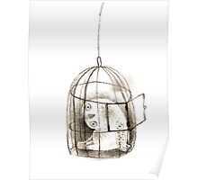 Pondering Snowy Owl Sitting in a Birdcage Poster