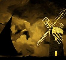 An old style digital painting of Horsey Windmill, Norfolk Broads by Dennis Melling