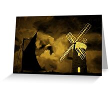 An old style digital painting of Horsey Windmill, Norfolk Broads Greeting Card