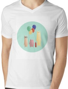 Kittens and their balloons Mens V-Neck T-Shirt