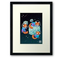 Red Space Pandas Framed Print