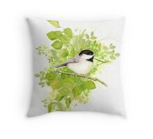 Cute Little Black-Capped Chickadee Watercolor Throw Pillow