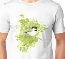 Cute Little Black-Capped Chickadee Watercolor Unisex T-Shirt