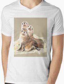 Cute Seal Watercolor Animal Art Mens V-Neck T-Shirt