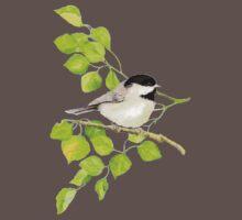 Watercolor Chickadee Bird in Poplar Tree One Piece - Short Sleeve