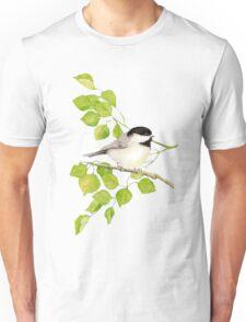 Watercolor Chickadee Bird in Poplar Tree Unisex T-Shirt