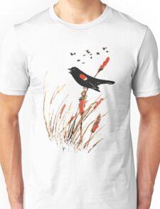 Watercolor Red Wing Blackbird Bird Nature Art Unisex T-Shirt