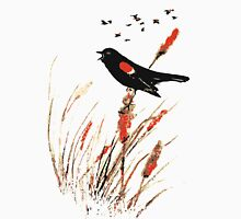Watercolor Red Wing Blackbird Bird Nature Art Unisex T-Shirt