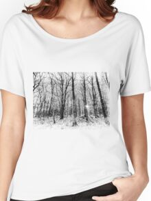 Monochrome Snow Forest Art Women's Relaxed Fit T-Shirt