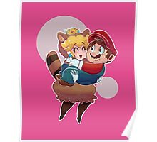 Tanooki Peach and Mario Poster
