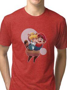 Tanooki Peach and Mario Tri-blend T-Shirt