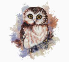 Watercolor Cute Owl Bird Kids Tee