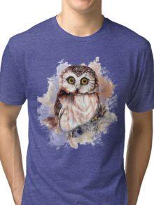 Watercolor Cute Owl Bird Tri-blend T-Shirt