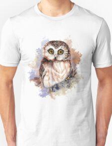 Watercolor Cute Owl Bird Unisex T-Shirt
