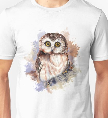 Watercolor Cute Owl Bird Unisex T-Shirt