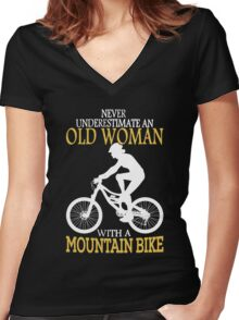 Never Underestimate An Old Woman With A Mountain Bike Women's Fitted V-Neck T-Shirt