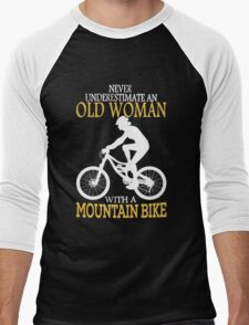Never Underestimate An Old Woman With A Mountain Bike Men's Baseball ¾ T-Shirt