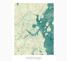 Portland Maine Map Blue Vintage Unisex T-Shirt