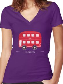 London Bus Women's Fitted V-Neck T-Shirt