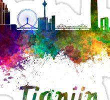 Tianjin skyline in watercolor Sticker