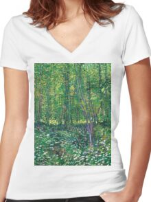 1887-Vincent van Gogh-Trees and undergrowth Women's Fitted V-Neck T-Shirt