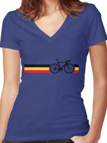 Bike Stripes Belgian National Road Race Women's Fitted V-Neck T-Shirt