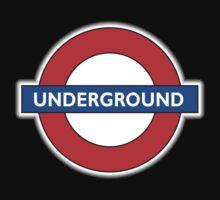 TUBE, UNDERGROUND, LONDON, ENGLAND, BRITISH, on BLACK Baby Tee