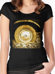 Vintage old wheel of classic car Women's Fitted Scoop T-Shirt