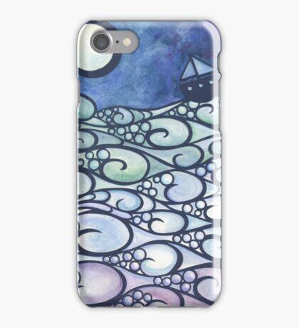 Moonlight Sailing papercut iPhone Case/Skin