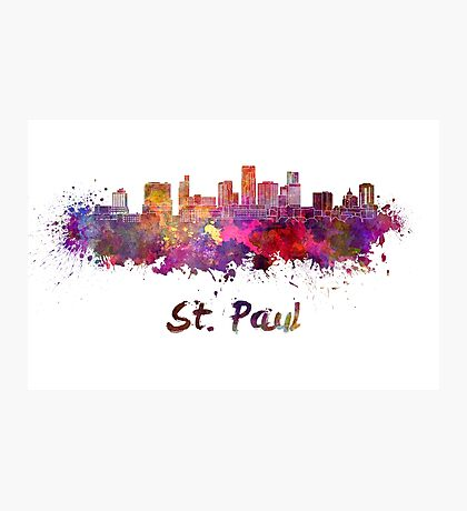 St. Paul skyline in watercolor Photographic Print