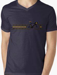 Bike Stripes Yellow/Black - Chain Mens V-Neck T-Shirt