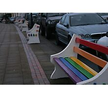 Colourful benches on a dull day Photographic Print