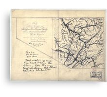 206 Map showing location of Flat top New River Gauly Lower Measures coal field West Virginia Canvas Print