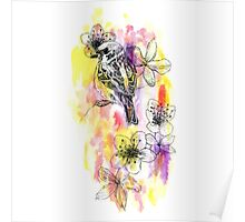 Organic Sparrow And Floral Pattern Poster
