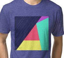 Modern Stripes and Color Block Geometric Pattern Tri-blend T-Shirt
