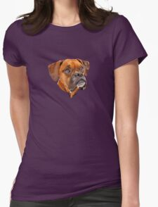 Boxer Pup Art Portrait Womens Fitted T-Shirt