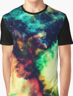 Cool Painted Dark Abstract Smoke Pattern Graphic T-Shirt
