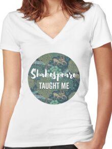 LIT NERD :: SHAKESPEARE TAUGHT ME Women's Fitted V-Neck T-Shirt