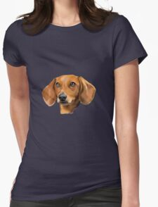 Red Dachshund Art Portrait Womens Fitted T-Shirt
