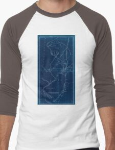 American Revolutionary War Era Maps 1750-1786 621 New York & New Jersey commissioners line from 410 on Hudson's River taken in 1769 Inverted Men's Baseball ¾ T-Shirt
