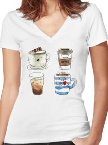For coffee lover Women's Fitted V-Neck T-Shirt