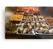 Market Place Crabs and More Metal Print