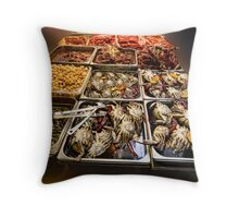 Market Place Crabs and More Throw Pillow