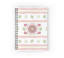 Pink Green  Mandala and Floral Design Spiral Notebook