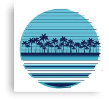 Palm trees blue beach Canvas Print