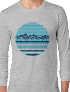Palm trees blue beach Long Sleeve T-Shirt