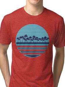 Palm trees blue beach Tri-blend T-Shirt